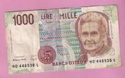 Продаю банкноту 1000 лир,  Италия,  1990 год