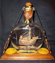 Модели парусных кораблей в бутылках