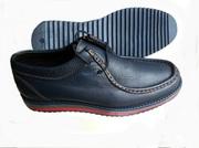 Ботинки мужские синие кожаные комфортные на цветной подошве. Низкие це