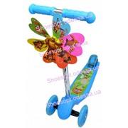 Самокат детский трехколесный с ветрячком колеса светятся