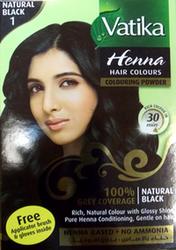 Краска для волос на основе хны Vatika Natural Black (Черная) Дабур,  60