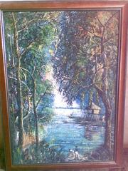 Картина - Дом на реке,  Холст,  масло