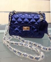 Кожаная сумка-клатч Chanel синяя
