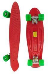 Скейт Longboard Penny 28 красный с зелеными колесами