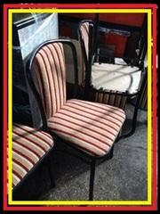 Стул металлический б/у с мягким полосатым сидением для ресторана кафе
