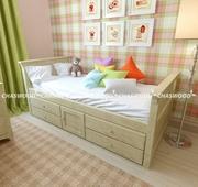 Детская кровать Медвежонок из натурального дерева.