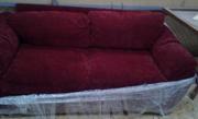 Диван  со съемными подушками красный велюр бу