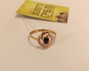 Продам Золотое кольцо б/у. Бриллианты и сапфир.
