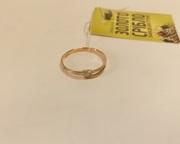 Кольцо золотое с бриллиантом,  0.02 ct.