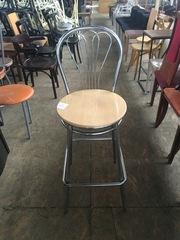 Стул б/у  из хромированного металла и фанеры для кафе , бара