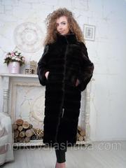 Купить элегантную норковую шубу поперечку 40 42 44 размеры дешево