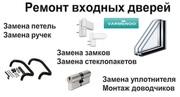 Ремонт входных дверей в Киеве. Замена уплотнителя и стеклопакетов.