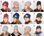 Комплект шапка и хомут для детей и подростков,  осень,  зима,  мод 033