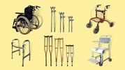 Аренда - прокат костылей,  ходунков,  инвалидных колясок и каталок.